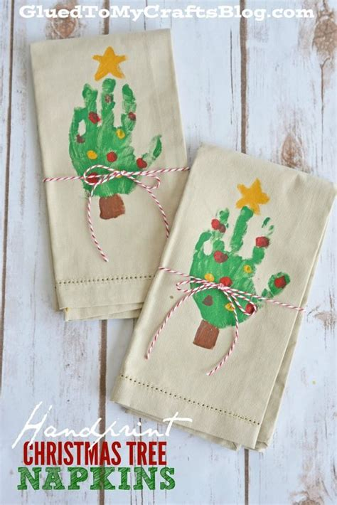 handprint christmas tree napkins christmas trees towels