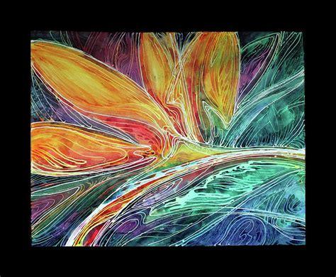 abstract design for batik bird of paradise abstract batik painting by marcia baldwin