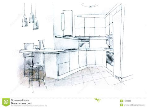 sketch to design a 3d kitchen sketching of a kitchen interior stock illustration