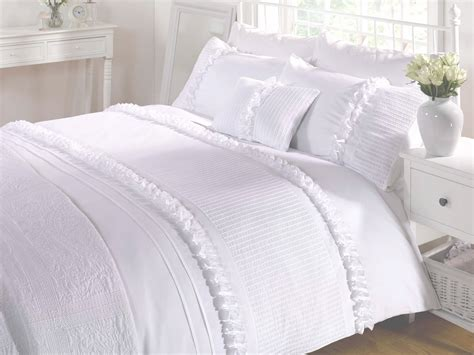 Bed Quilt Cover by White Duvet Quilt Cover Bedding Bed Set Ruffles 4 Sizes Polycotton Ebay