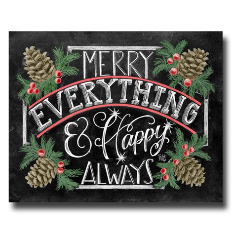 holiday sign merry everything happy always chalkboard art