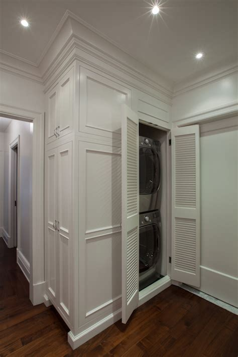 concealed stacked washer and dryer transitional closet washer dryer transitional laundry room the