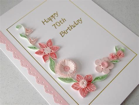 Paper Cards - quilled 70th birthday card paper quilling