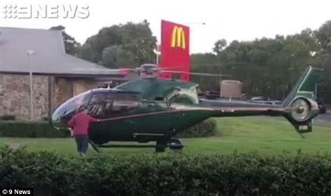 backyard helicopter incredible moment man lands helicopter at sydney mcdonalds