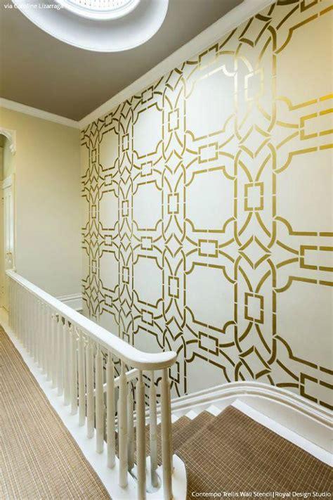 Interior Paint Stencils by Gold Wallpaper Wall Stencils Diy Ideas For Metallic Home