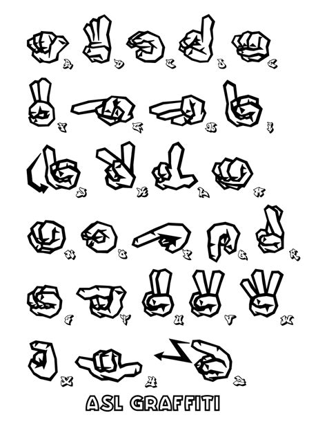 Sign Language Coloring Pages file asl sign language graffiti coloring at coloring pages