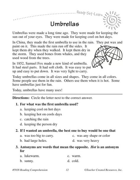 Reading Comprehension Worksheets Grade 2 by Picture Comprehension For Grade 2 Worksheets Tutsstar
