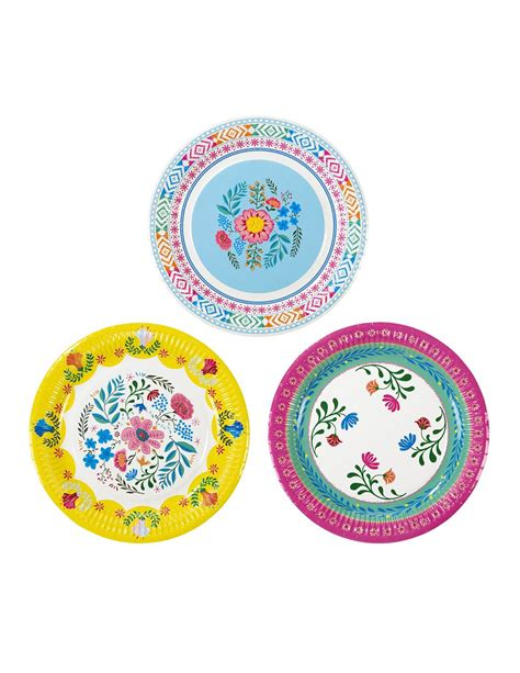 piatti fiori 8 piatti in cartone con fiori gipsy 23 cm su vegaooparty