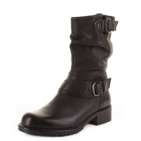 womens clarks orinocco jive black leather mid calf biker