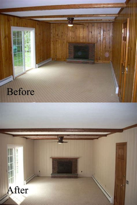 paint wood paneling white before and after old wall paneling primed and painted