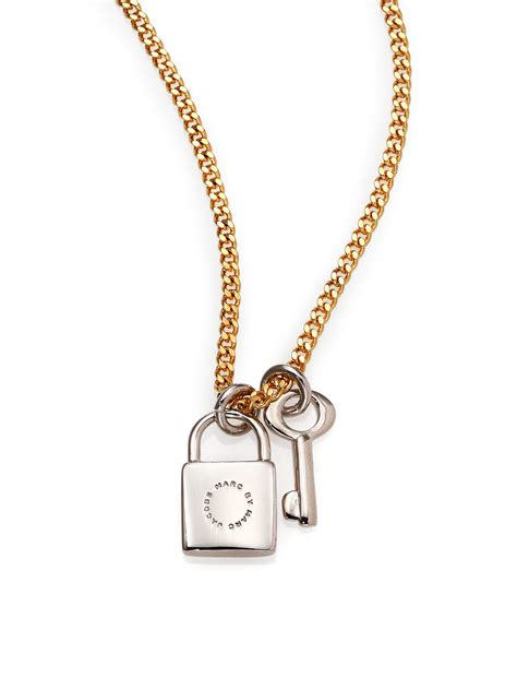 Marc Padlock Key Necklace by Lyst Marc By Marc Lock Key Pendant Necklace