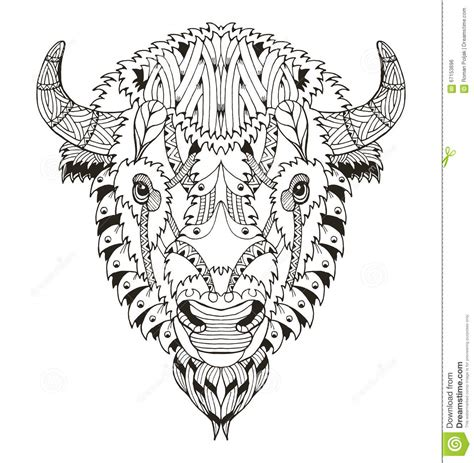 american buffalo head zentangle stylized vector