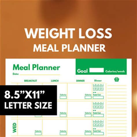 printable meal planner for weight loss shop weekly meal planner on wanelo