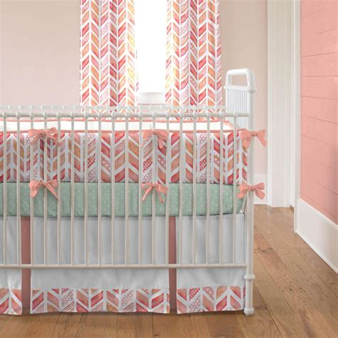 coral watercolor herringbone crib bedding carousel designs