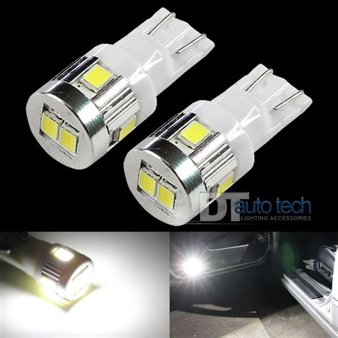 2x t10 6000k white high power 2538 chip smd led interior