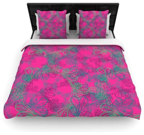 teal and pink bedding patternmuse quot jaipur hot pink quot pink teal fleece duvet cover