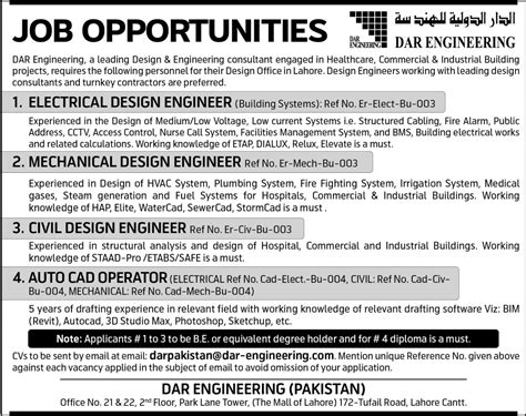 engineering pattern making jobs mechanical civil design engineer jobs in dar engineering