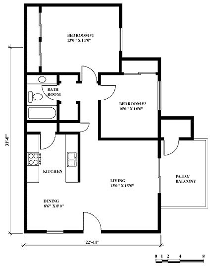 2 Bedroom 1 Bath Apartment by Tennis Club Apartments Floor Plans