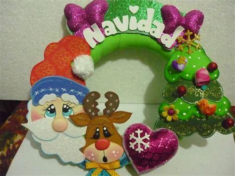 imagenes animadas de navidad en foami hermosa corona de navidad moldes manualidades en goma