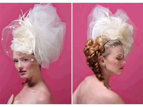 pouf hairstyle accessories haute couture inspired statement bridal headpiece with big