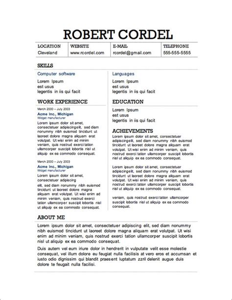 Resume Template Free by 12 Resume Templates For Microsoft Word Free Primer