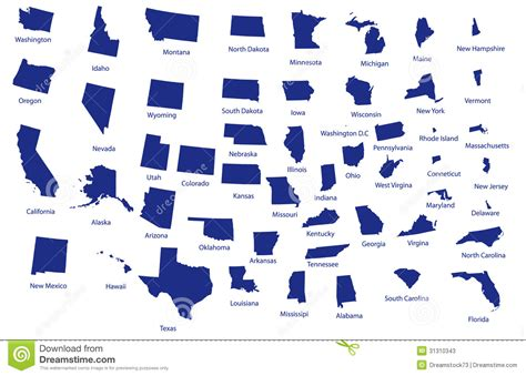 us map individual states map of the united states stock photos image 31310343