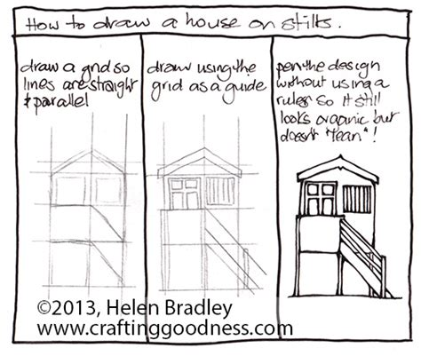how to draw a house plan step by step step by step how to draw a beach house on stilts crafting goodness