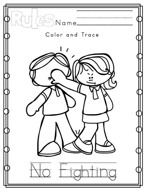 Preschool Rules Coloring Pages | 9 best images of classroom rules printable coloring pages