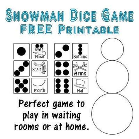 printable dice christmas game snowman dice game printable five little chefs