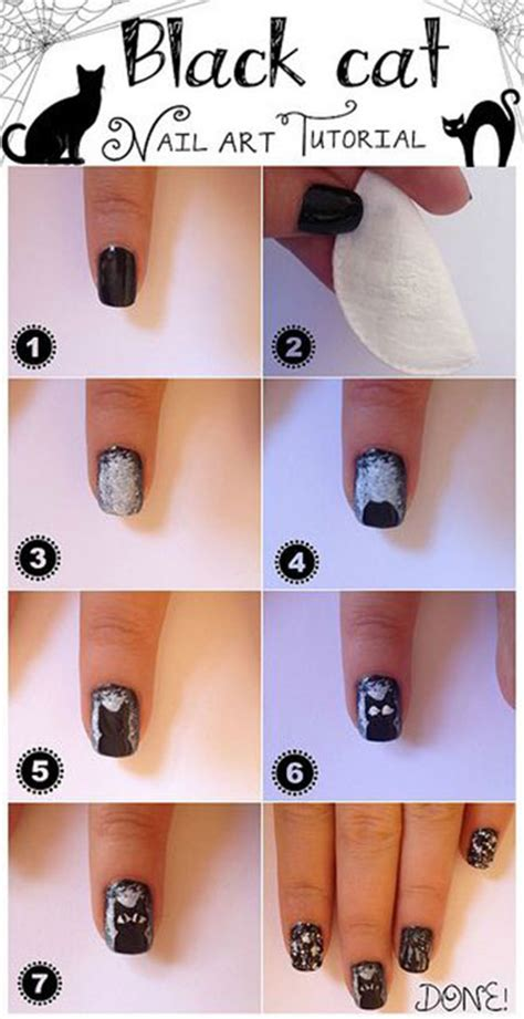 easy nail art picture tutorials simple easy cat nail art tutorials 2014 2015 for
