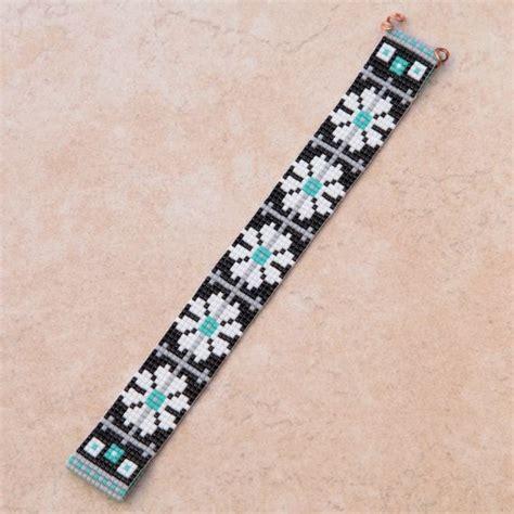 bead loom bracelet finishing black white turquoise floral b