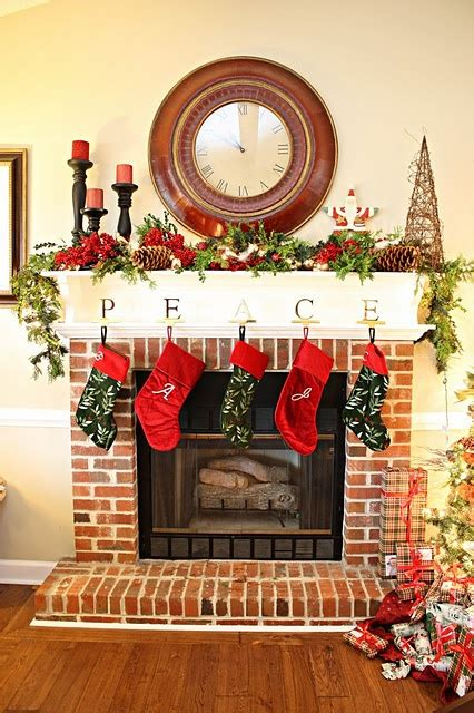 love  brick fireplace  white mantle   home