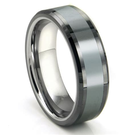 Tungsten Ring Wedding by Tungsten Carbide Grey Meteorite Inlay Wedding Band Ring