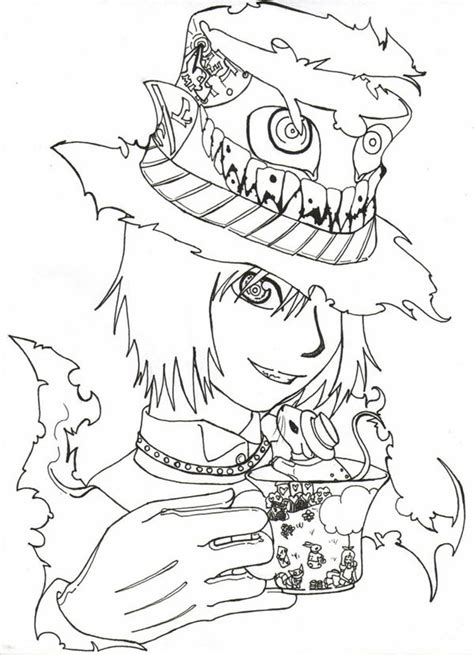 alice in wonderland mad hatter tea party coloring pages