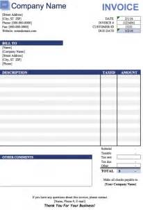 Microsoft Excel Invoice Template Free Blank Invoice Templates In Microsoft Excel Xlsx