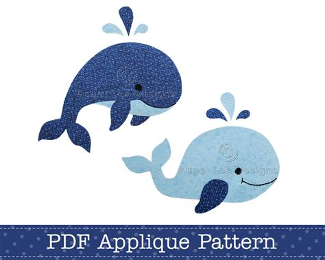 whales applique template pdf pattern includes jumping whale