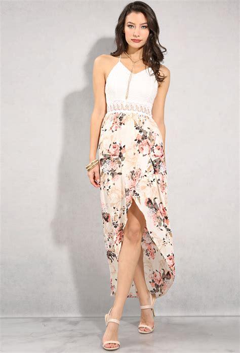 Id Print Dress crochet floral print high low dress shop dresses at