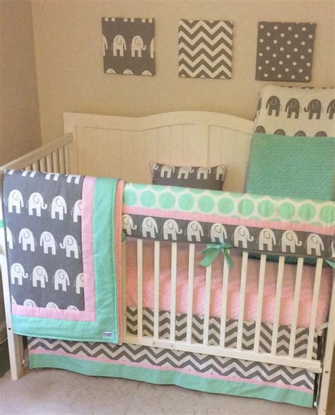 girl elephant crib bedding pink and mint elephant baby girl crib bedding set