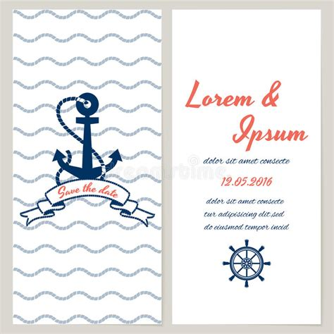 Nautical Style Wedding Invitation Stock Vector Illustration Of Print Ribbon 40422798 Anchor Wedding Invitation Templates