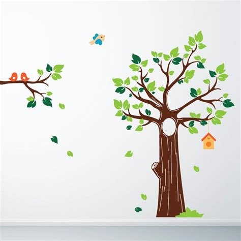 tree wall sticker uk jungle tree wall sticker tree and birds wall decor
