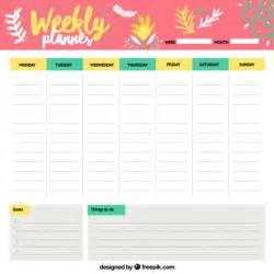 Cheerful weekly schedule vector free download