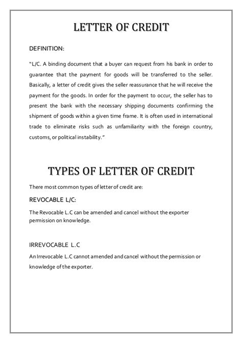 Letter Of Credit Workflow letter of credit report