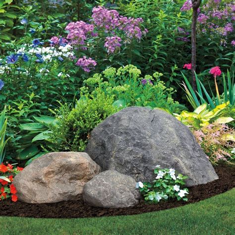boulders accents and black mulch decor garden rock
