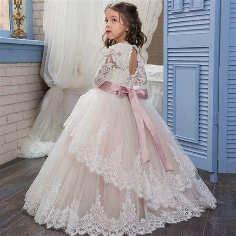 Dress Fashion Flower 4 flower dress wedding dress 2017 fashion white lace belt bow princess