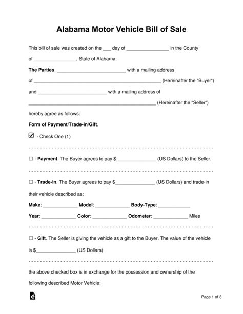 vehicle bill of sale form templates free templates in doc ppt