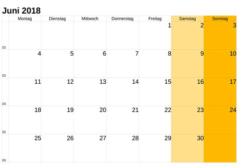 Kalender 2018 Zum Ausdrucken Und Bearbeiten Kalender Juni 2018 Zum Ausdrucken Pdf Excel Word