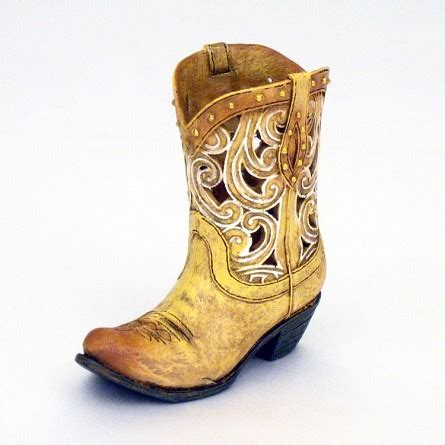 mini die cut scroll cowboy boot dried flower vase