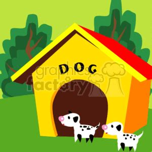 yellow dog house royalty free two puppies in front of a a yellow dog house