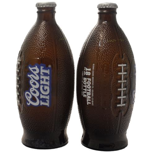 coors light glass bottle 2 football bottles you may recognize and 1 you probably