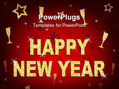 template powerpoint happy new year happy new year greeting card in red and gold glitter
